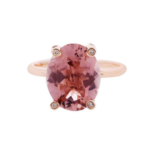 Tourmaline and diamond ring 18 carat pink gold.