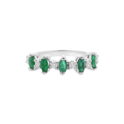 Emerald and diamond half band 18 carat white gold.
