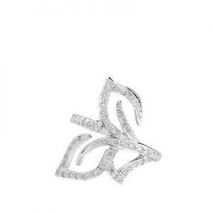 """Three leaves"" diamond ring k18 white gold."