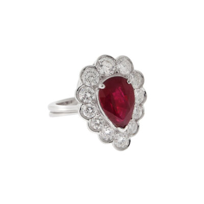 Ruby and diamond ring 18 carat white gold.