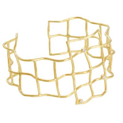 Diamond cuff bracelet, 18 carat yellow gold, inspired by the Ancient Greek jewellery.