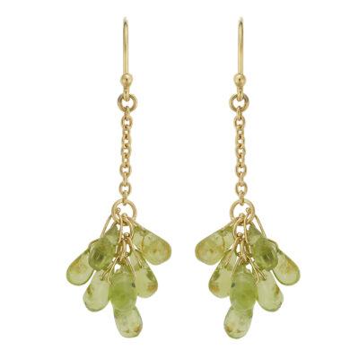 Peridot drop earrings, 18 carat yellow gold.