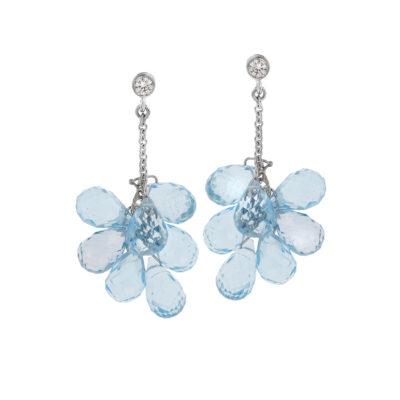 Blue topaz and diamond drop earrings, 18 carat white gold.