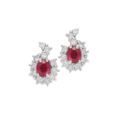Ruby and diamond earrings, 18 carat white gold.