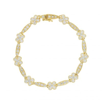 Diamond bracelet in 18 carat yellow gold.