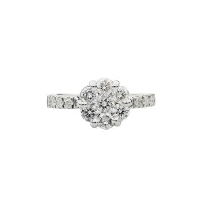 Diamond round brilliant cutflower ring 18 carat white gold.