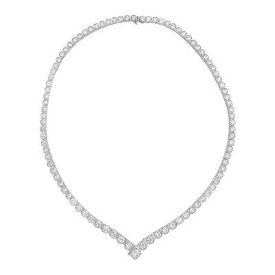 Diamond line necklace 18 carat white gold