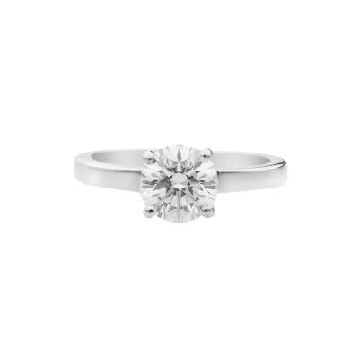 Round brilliant diamond ring 18 carat white gold.