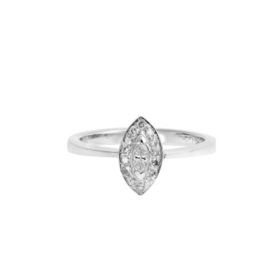 Diamond marquise-cut solitaire 18k white gold.
