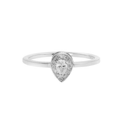 Pear cut diamond solitaire 18 carat white gold.