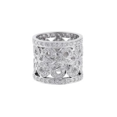 Wide lace diamond band 18 carat white gold.