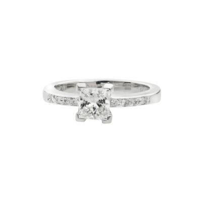 Princess cut diamond solitaire in 18 carat white gold.