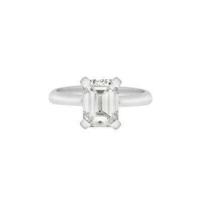Emerald cut diamond solitaire18 carat white gold.