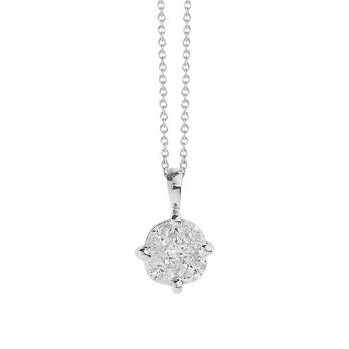 Invisible diamond pendant 18k white gold.