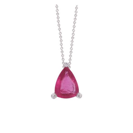Pink Tourmaline and diamond pendant 18 carat white gold.