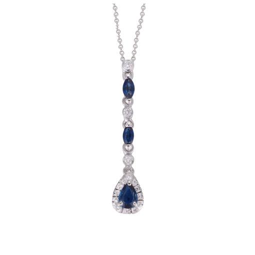 Sapphire and Diamond Pendant, 18k white gold.