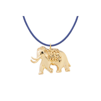 Elephant, silver 925 gold-plated charm.