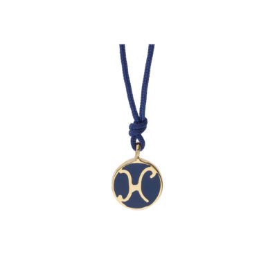 Pisces, 18 carat yellow gold enamelled charm.