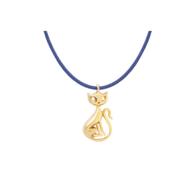 Cat, silver 925 gold-plated charm.