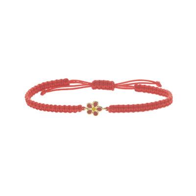 Flower 18k yellow gold and enamel bracelet