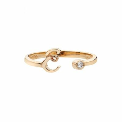 """Letter """"E"""" ring in 18 carat pink gold with a diamond."""