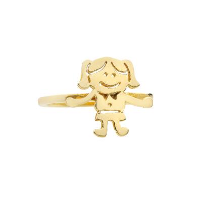 Little girl 18 carat yellow gold ring.