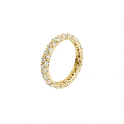 Diamond pave band 18 caratyellow gold.
