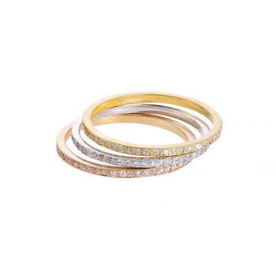 Three stacking diamond bands 18 carat yellow, pink and white gold.