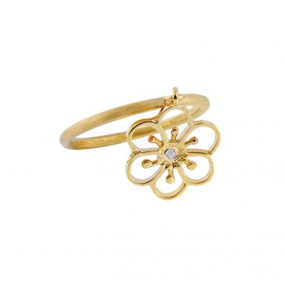 Flower ring 18 carat yellow gold with a round brilliant diamond.
