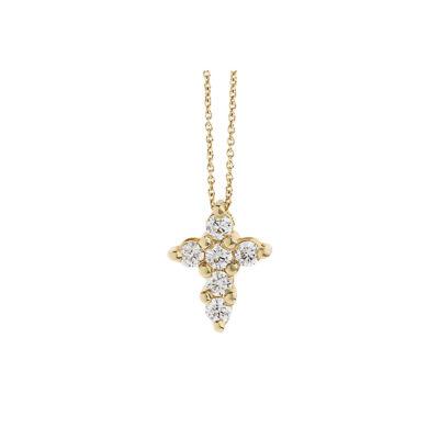 Diamond cross 18k yellow gold.