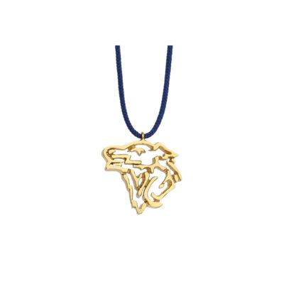 """Wolf"" power animal, 18k yellow gold charm."