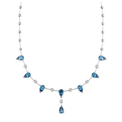 Blue topazand diamond necklace 18 carat white gold