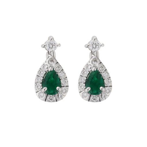 Emerald and diamond drop earrings, 18 carat white gold.