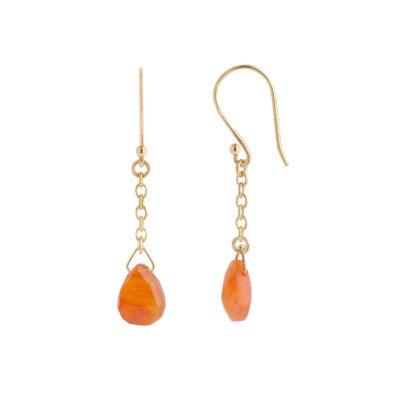 Carnelian drop earrings 18 carat yellow gold.