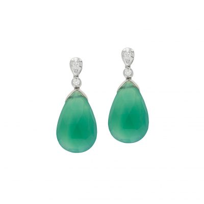 Green onyx and diamond drop earrings, 18 carat white gold.
