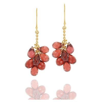 Garnet drop earrings 18-carat yellow gold