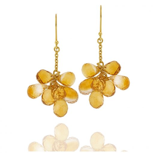 Citrine drop earrings 18-carat yellow gold.