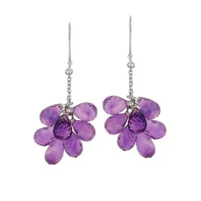 Amethyst drop earrings 18 carat white gold.