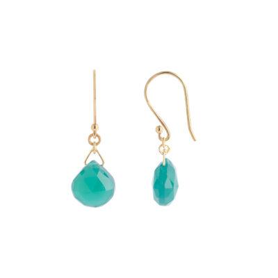 Green onyx drop earrings 18 carat yellow gold