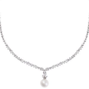 Diamond and pearl necklace 18 carat white gold.