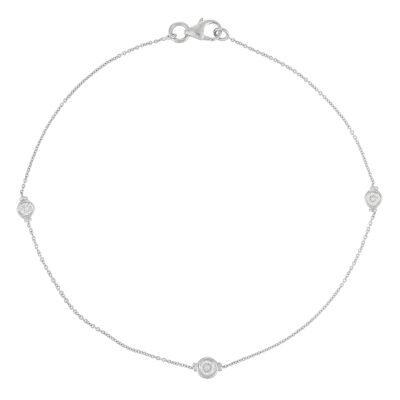 18 carat white gold chain bracelet .