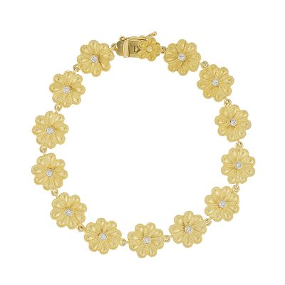 Flower diamond bracelet,18 carat yellow gold, inspired by the Ancient Greek jewellery.