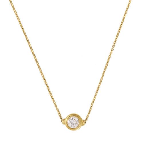 Diamond solitaire chain pendant 18 carat yellow gold