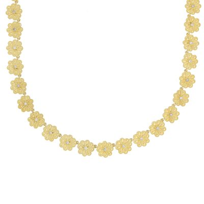 Flower 18 carat yellow gold and diamond necklace.
