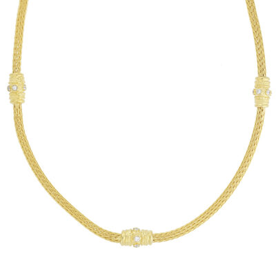 18 carat yellow gold and diamond necklace.