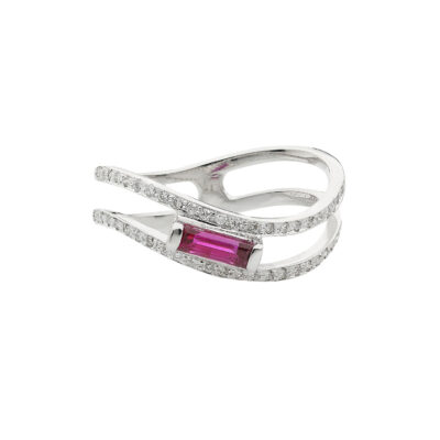 Baguette ruby and diamond ring 18 carat white gold.