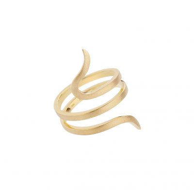 Spiral 18 carat handmade gold ring .