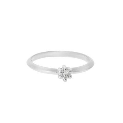 Round Brilliant Cut Diamond Ring, 18 carat white gold