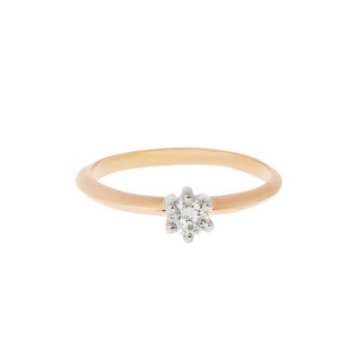 Round brilliant cut diamond solitaire 18k rose & white gold.