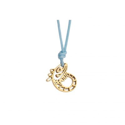 """Salmon"" power animal, 18 carat yellow gold charm."